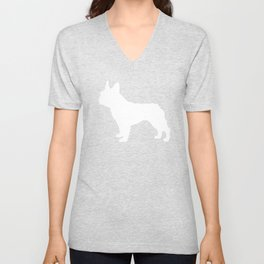 Boston Terrier pet silhouette grey and white minimal dog lover gifts Unisex V-Neck