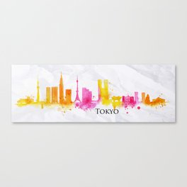 Silhouette watercolor Tokyo Canvas Print