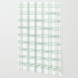 Farmhouse Plaid in Sage Green and White Wallpaper