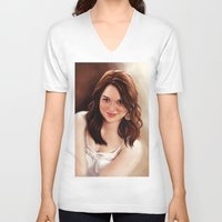 emma stone V-neck T-shirts featuring Emma Stone by Chanuka Hemachandra