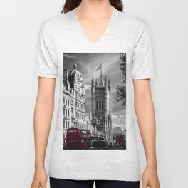 Red London Buses and Westminster Cathedral Unisex V-Neck