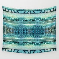 david Wall Tapestries featuring Dreamy Tribal Part VIII by Pom Graphic Design