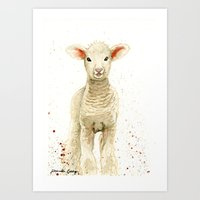 lamb Art Prints featuring Lamb by Priscilla George