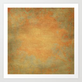 Grunge Garden Canvas Texture:  Ancient Gold Floral Abstract Art Print