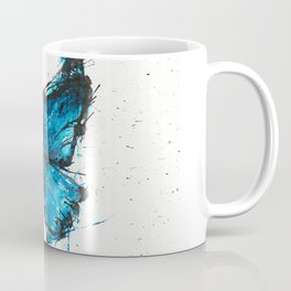 Blue butterfly ink splatter Coffee Mug