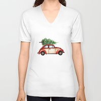 volkswagen V-neck T-shirts featuring Christmas Volkswagen Bug  by Emily Frazier