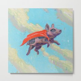 flying pig - by phil art guy Metal Print