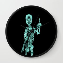 X-ray Bird / X-rayed skeleton demonstrating international hand gesture Wall Clock