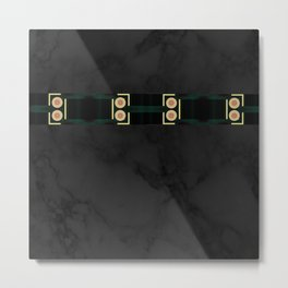 Black Gold Green Marble Mandala Abstract Metal Print