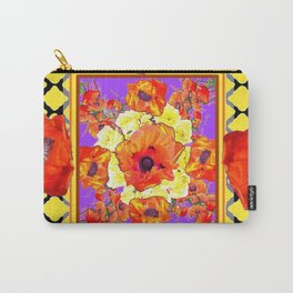 ABSTRACTED BLACK ORANGE-RED POPPIES DECORATIVE FLORAL Carry-All Pouch