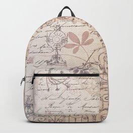 Vintage rustic ivory brown floral collage typography Backpack