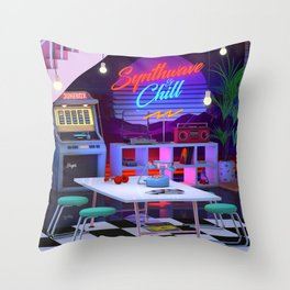 Synthwave And Chill Throw Pillow