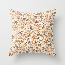 Pattern of Flowers in Orange and Beige colors on Cream Background Throw Pillow