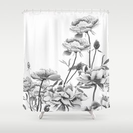 black and white peonies Shower Curtain