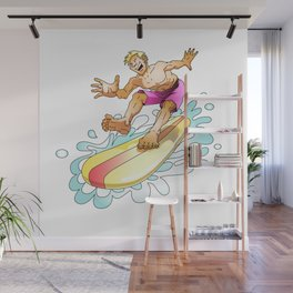 Surfer surfing on the wave Wall Mural