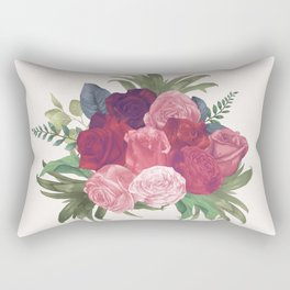 Pink Flowers Painting Rectangular Pillow