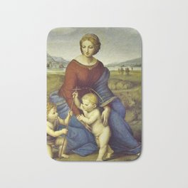 Madonna of the Meadows by Raphael Bath Mat