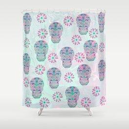 Marbled Sugar Skulls Shower Curtain