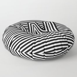 Track - Letter W - Black and White Floor Pillow