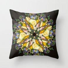 Flemish Floral Mandala 5 Throw Pillow