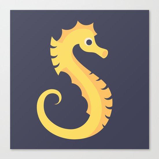 Letter S // Animal Alphabet // Seahorse Monogram Canvas Print