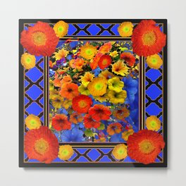 BLUE ABSTRACT OF POPPIES & YELLOW PETUNIA FLOWERS Metal Print