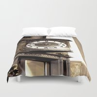 wall clock Duvet Covers featuring Clock by Yancey Wells