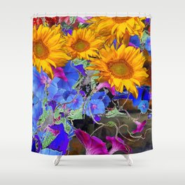 LARGE YELLOW SUNFLOWERS & BLUE MORNING GLORIES FLORAL Shower Curtain