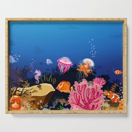 Beautiful Coral Reef Animals Serving Tray