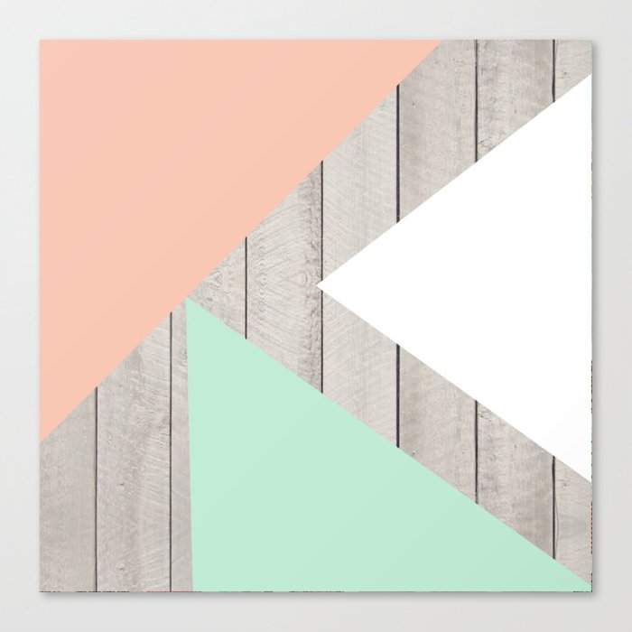 Modern Teal Peach Triangles Color Block on Wood Canvas Print