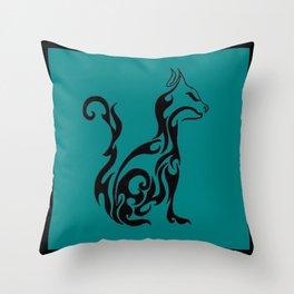 Cat green Throw Pillow