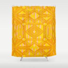 vintage kantha: orange & yellow Shower Curtain