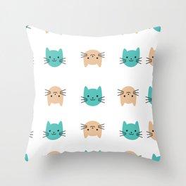 Cute cats pattern Throw Pillow