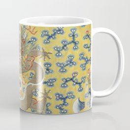 Chinese Emperor's 'Nine Dragon' Yellow Silk Embroidered Robe - Qing Dynasty - detail of robe Coffee Mug