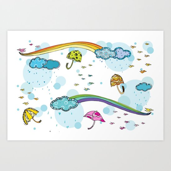 Rainbows and Raindrops Art Print