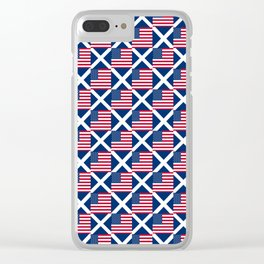 Mix of flag : usa and scotland Clear iPhone Case