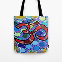 om Tote Bags featuring OM by Art By Carob