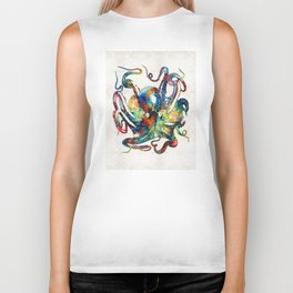 Colorful Octopus Art by Sharon Cummings Biker Tank
