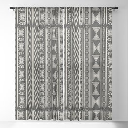 Boho Mud cloth (Black and White) Sheer Curtain