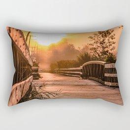 A beautiful sunrise view from a park footbridge Rectangular Pillow