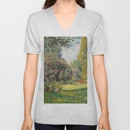 The Parc Monceau by Claude Monet Unisex V-Neck