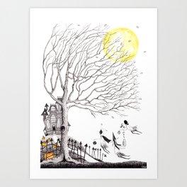 Harvest Moon Night - Illustration by: Taren S. Black Art Print