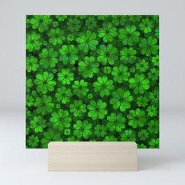Four-leaf Lucky Clover Shamrock Pattern Mini Art Print