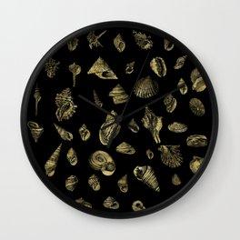 Sea shells pattern gold on black 1 Wall Clock