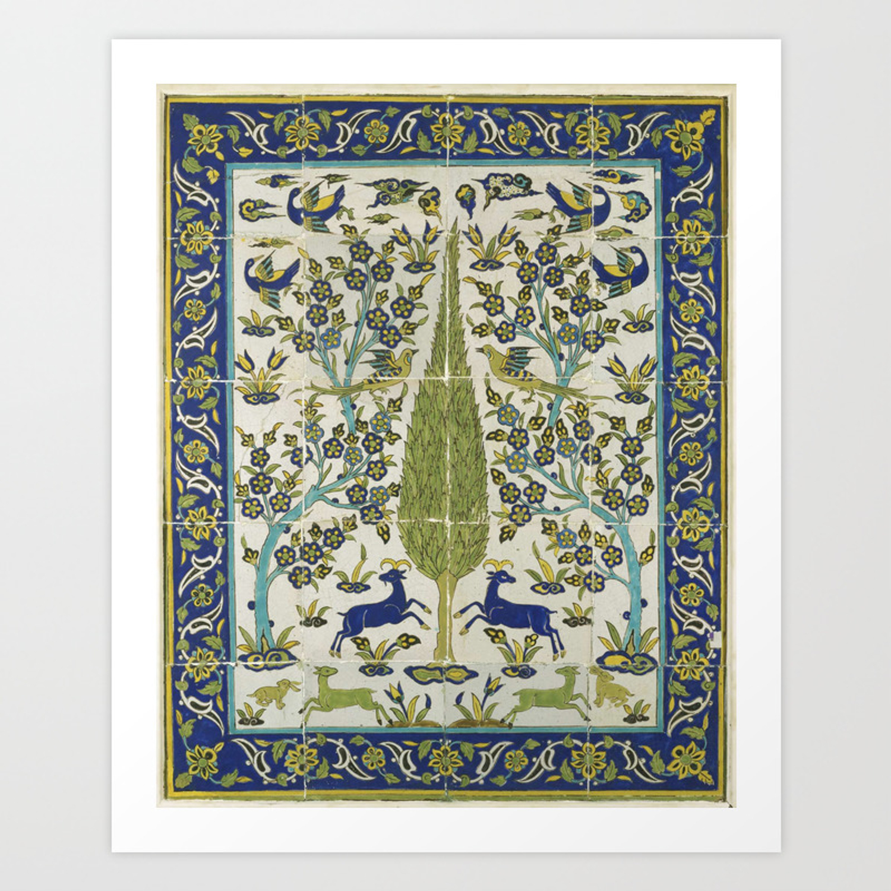 A Safavid Cuerda Seca Tile Panel, Persia, 18th Century, by Adam Asar, No 18  Art Print