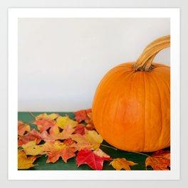 Autumn Photography - Pumpkins And Orange Leaves Art Print