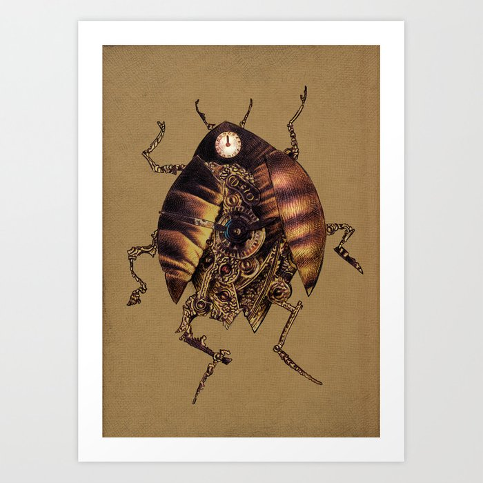 Clock Beetle Art Print