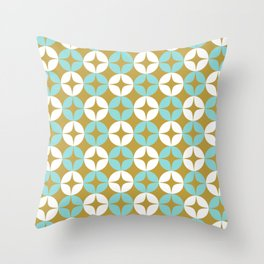 Neutra 2 - Atomic Age Midcentury Modern Pattern in Aqua Mint, White, and Burnished Gold Throw Pillow