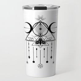 Wicca Sacred Geometry Moon Symbol and Dreamcatcher Talisman Travel Mug