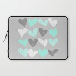 Mint white grey grunge hearts Laptop Sleeve